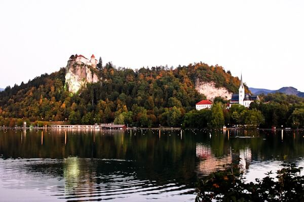 View of Lake Bled while eating Bled Cream Cake