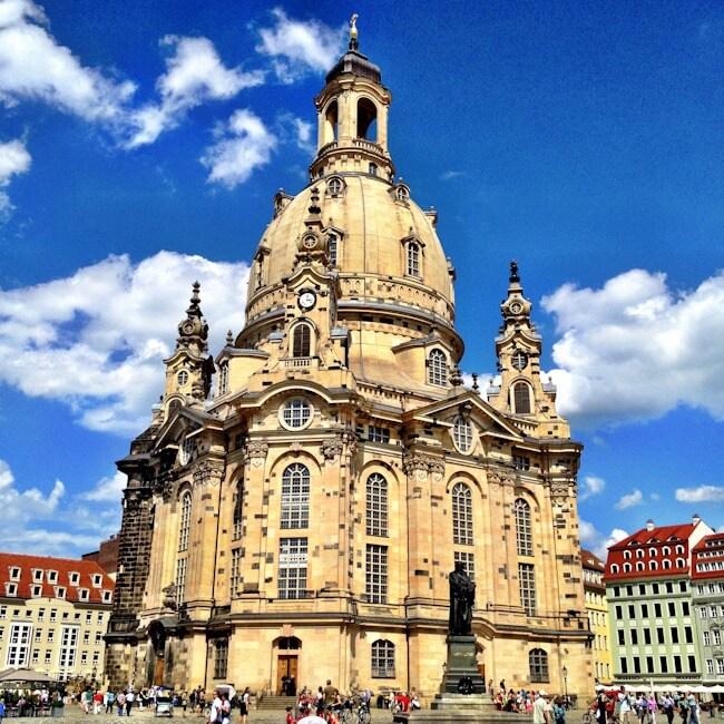 The recently rebuilt Frauenkirche in Dresden