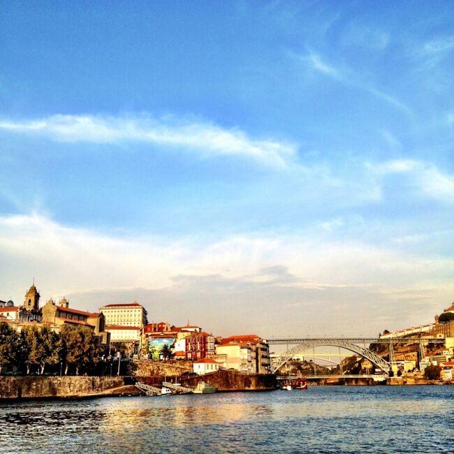 View of Luis I Bridge, Porto from the River