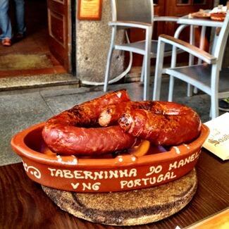 Portuguese Flamed Chorizo in Porto