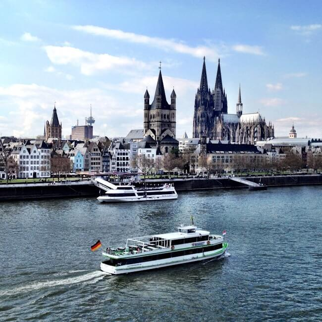 Cologne's Skyling and the River Rhine