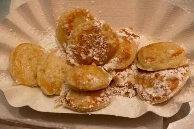 Dutch poffertjes with powdered sugar in Dresden