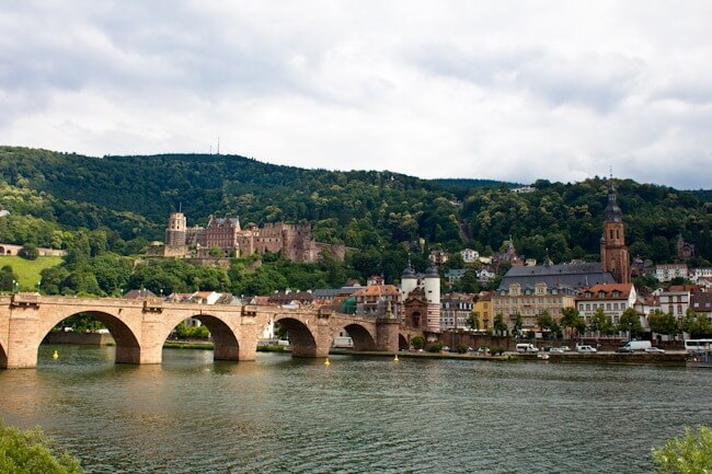 Heidelberg Castle from the river.