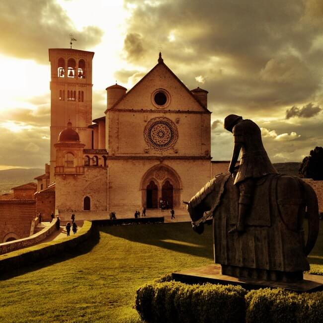 St Francis of Assisi Statue and Cathedral in Umbria, Italy