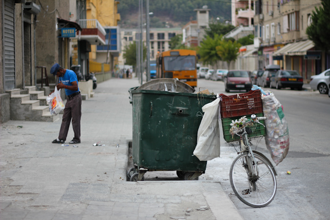 One of the few jobs available to the Roma minority in Albania