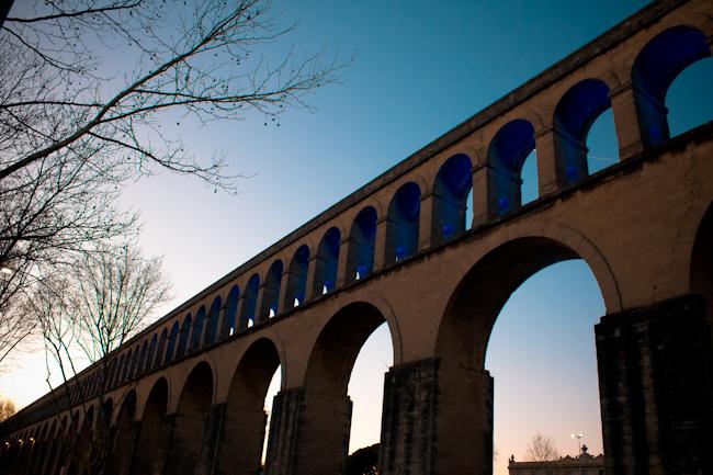 Montpellier's Aqueduct Under Blue Skies