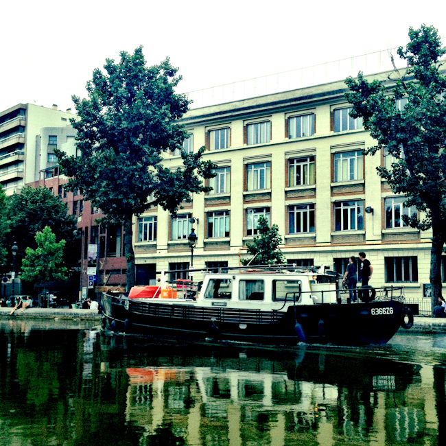 Houseboat on the Canal St Martin in Paris