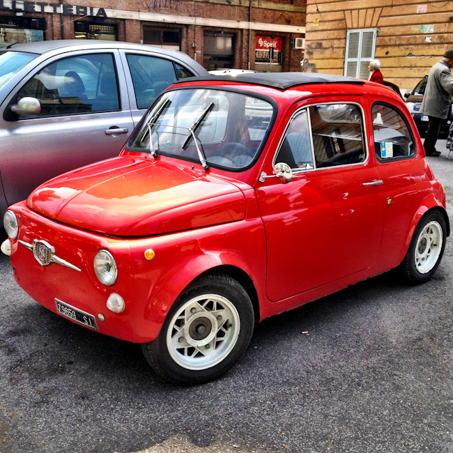 Vintage Red Fiat 500 in Rome Italy