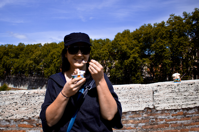 Eating Gelato on the Ponte Fabricio