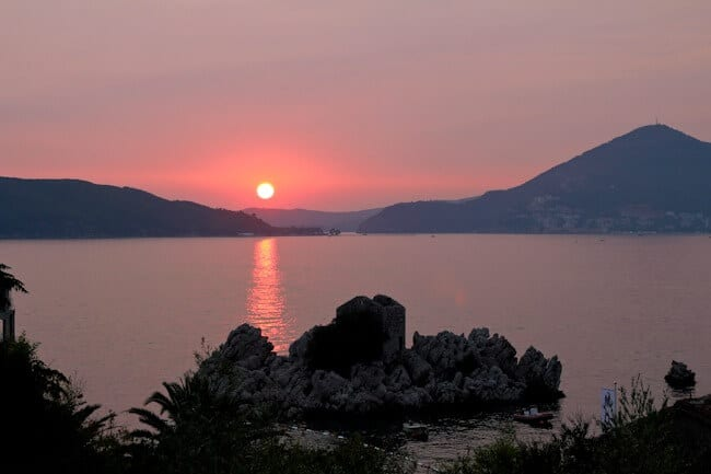Pink Sunset Over Budva in Montenegro