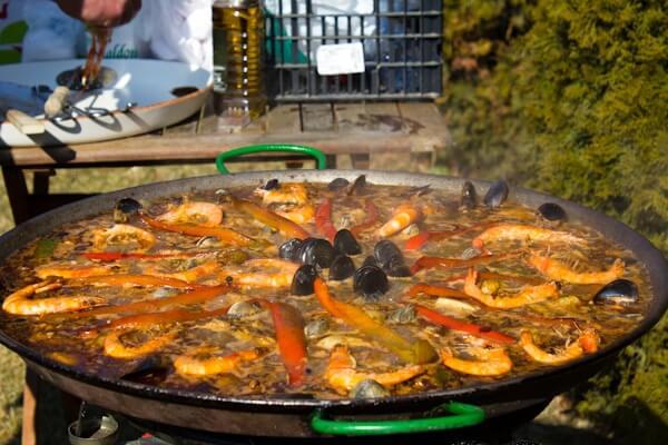 Simmering Spanish Seafood Paella