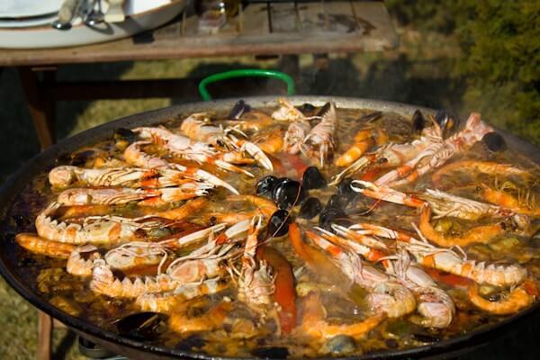 Traditional Seafood Paella Recipe in Besalu, Catalonia, Spain