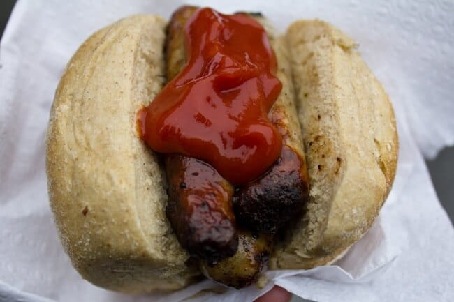 Nuremberg Bratwurst with Ketchup in Germany