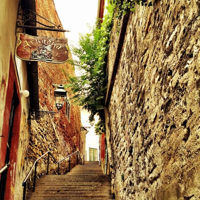Narrow streets of Zagreb's old town