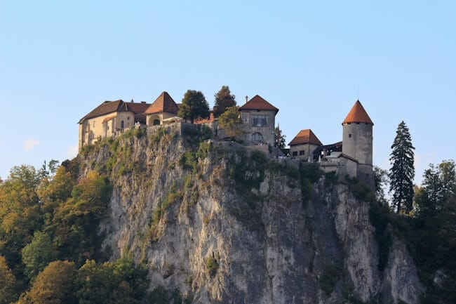 Looking up to Bled Castle in Slovenia