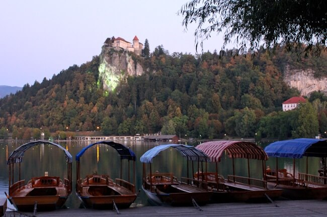 Slovenian pletna boats take you to Bled Island.