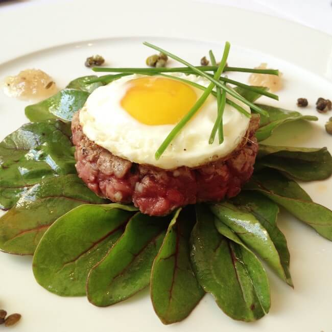 Steak Tartare Onion Jam and Popped Capers