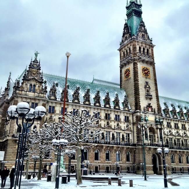 Hamburg Town Hall Covered in Snow