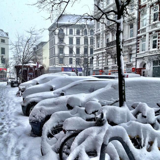 Snowy Hamburg in March