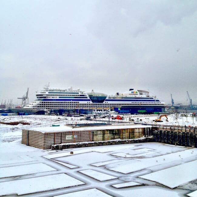 Cruise Ship in HafenCity Hamburg Germany
