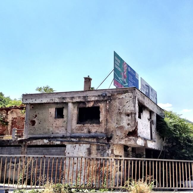 Bullet Holes and Burnt Out Buildings in Mostar