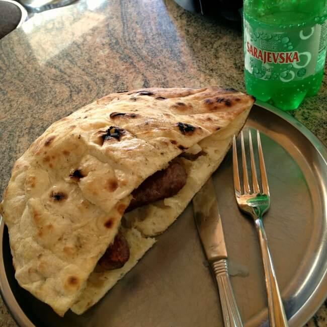 Eating Cevapi in Sarajevo