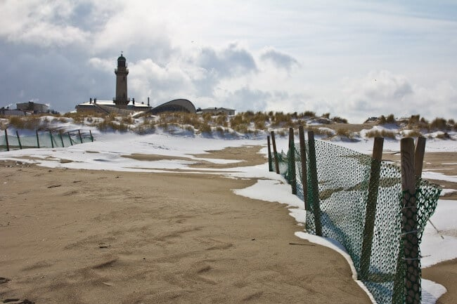 Snow on the beach at Warnemünde, Germany