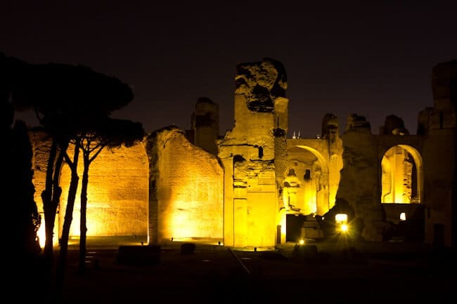 Roman Baths in Rome. At Night.