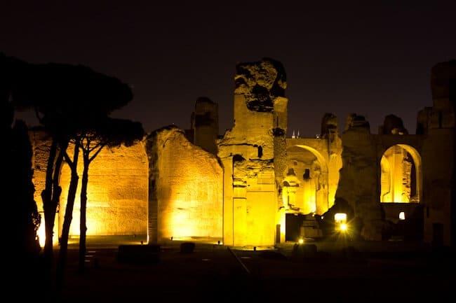 Roman Baths in Rome. At Night.