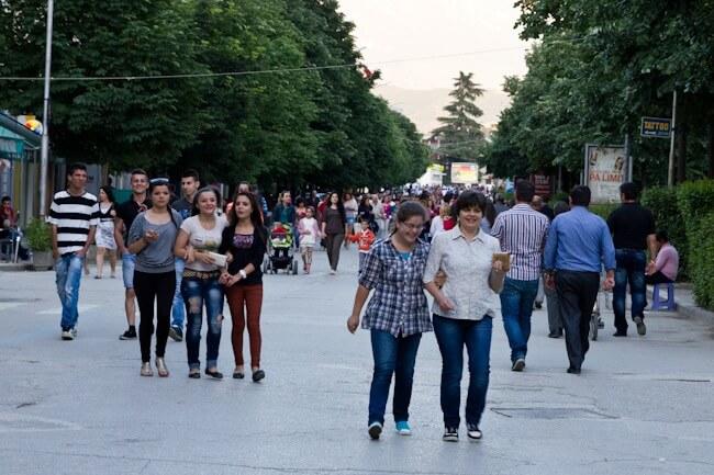 The evening xhiro in Berat