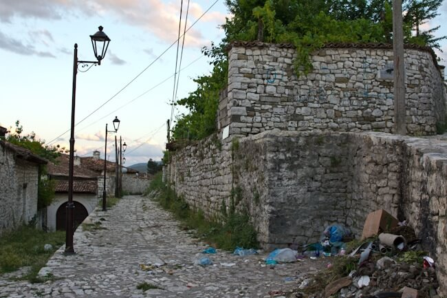 Rubbish in Berat Castle Albania