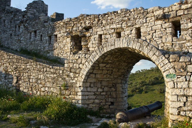Castle walls and cannon in Berat, Albania