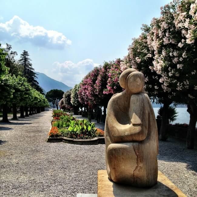 Flowering tree-lined shore in Bellagio