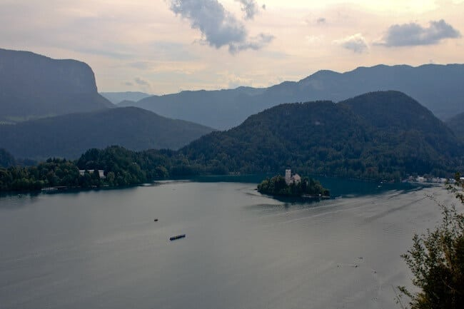 Looking down on Lake Bled