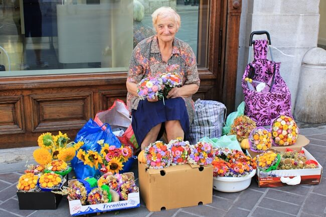 Selling Flowers in Ljubljana