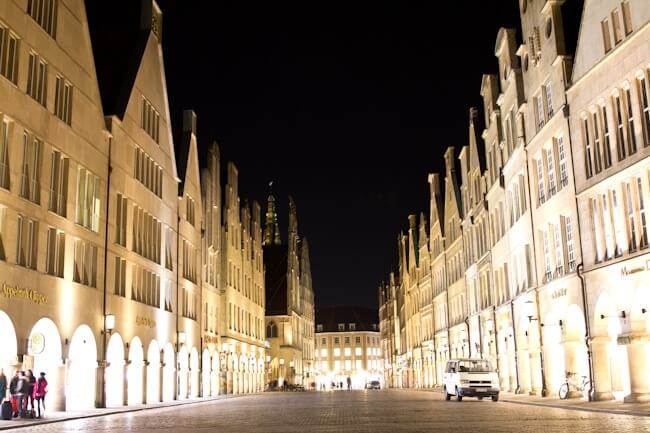 Muenster's Prinzipalmarkt at Night