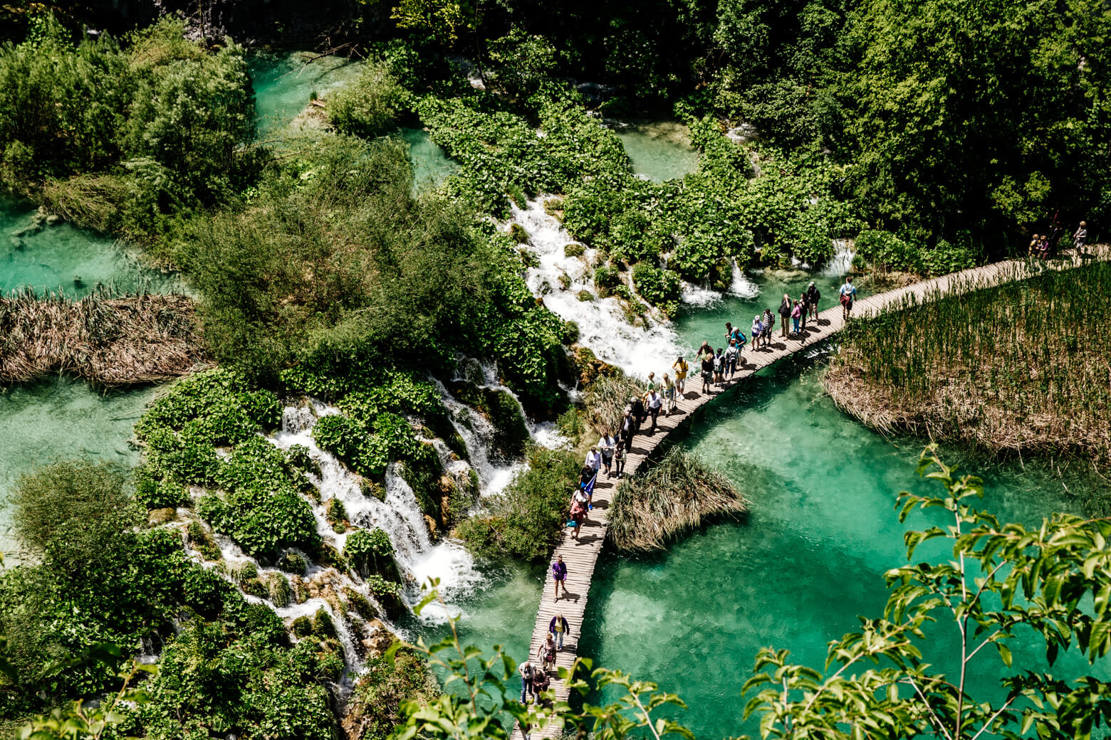 Tourists at Plitvice Lakes