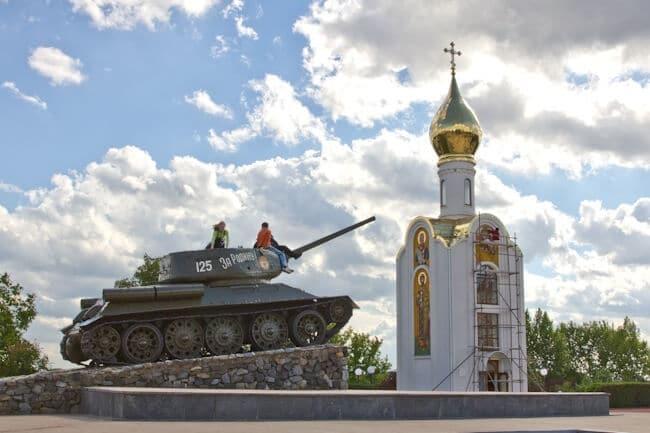 Playing on a Russian Tank in Tiraspol