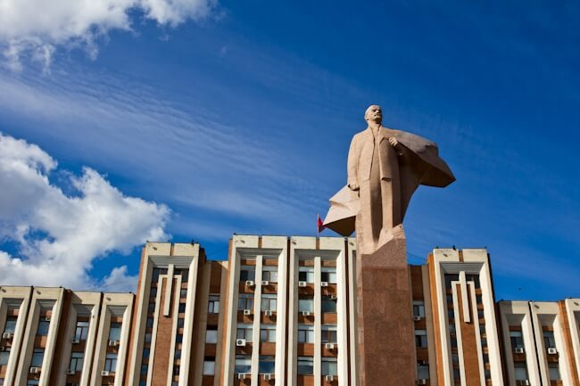 Lenin Monument in front of Transnistria's Parliament