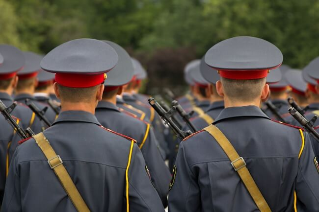 Soldiers in Tiraspol in the Independence Day Parade 2013