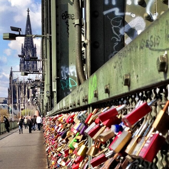 Love locks on Cologne's Hohenzollern Bridge
