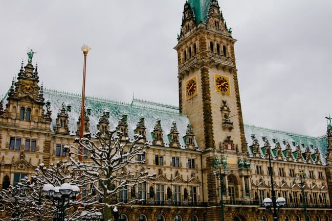 Hamburg's Town Hall in Winter