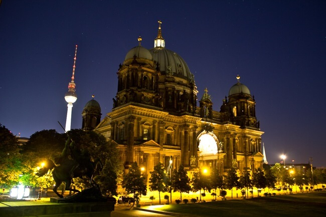 Berliner Dom at Night: End of the Road Trip