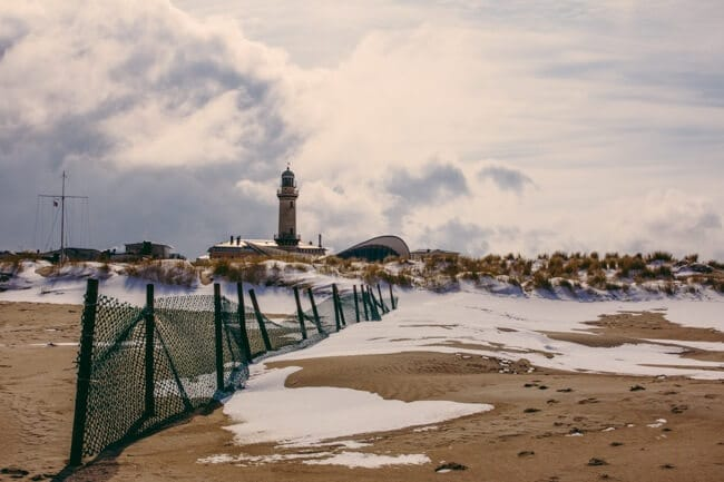 Snow on Warnemuende's Baltic Sea Beach