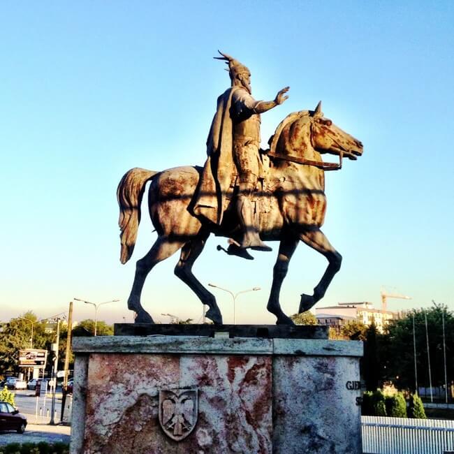 Statue of Albanian Hero Skanderbeg in Skopje