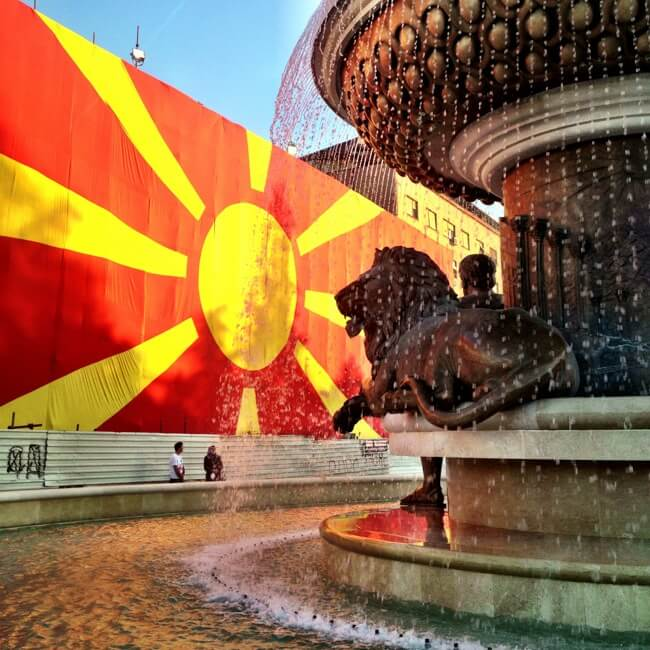 Another fountain and another flag in Skopje