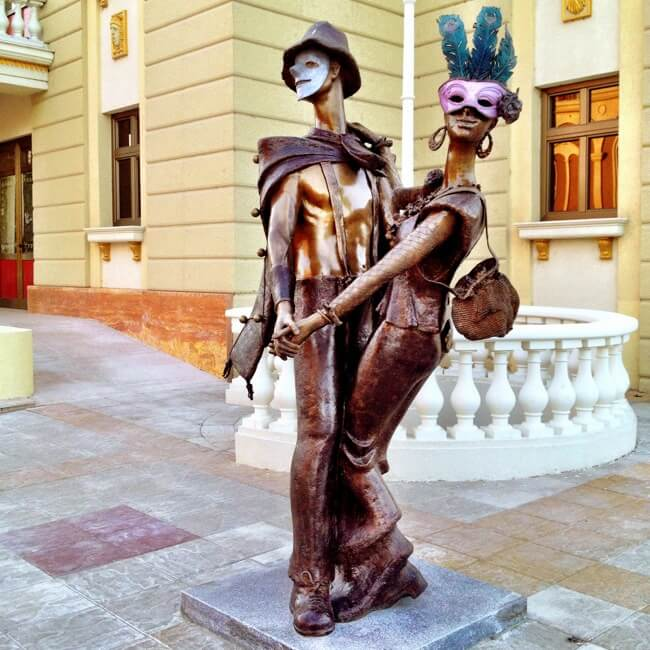 Statues outside the theatre in Skopje