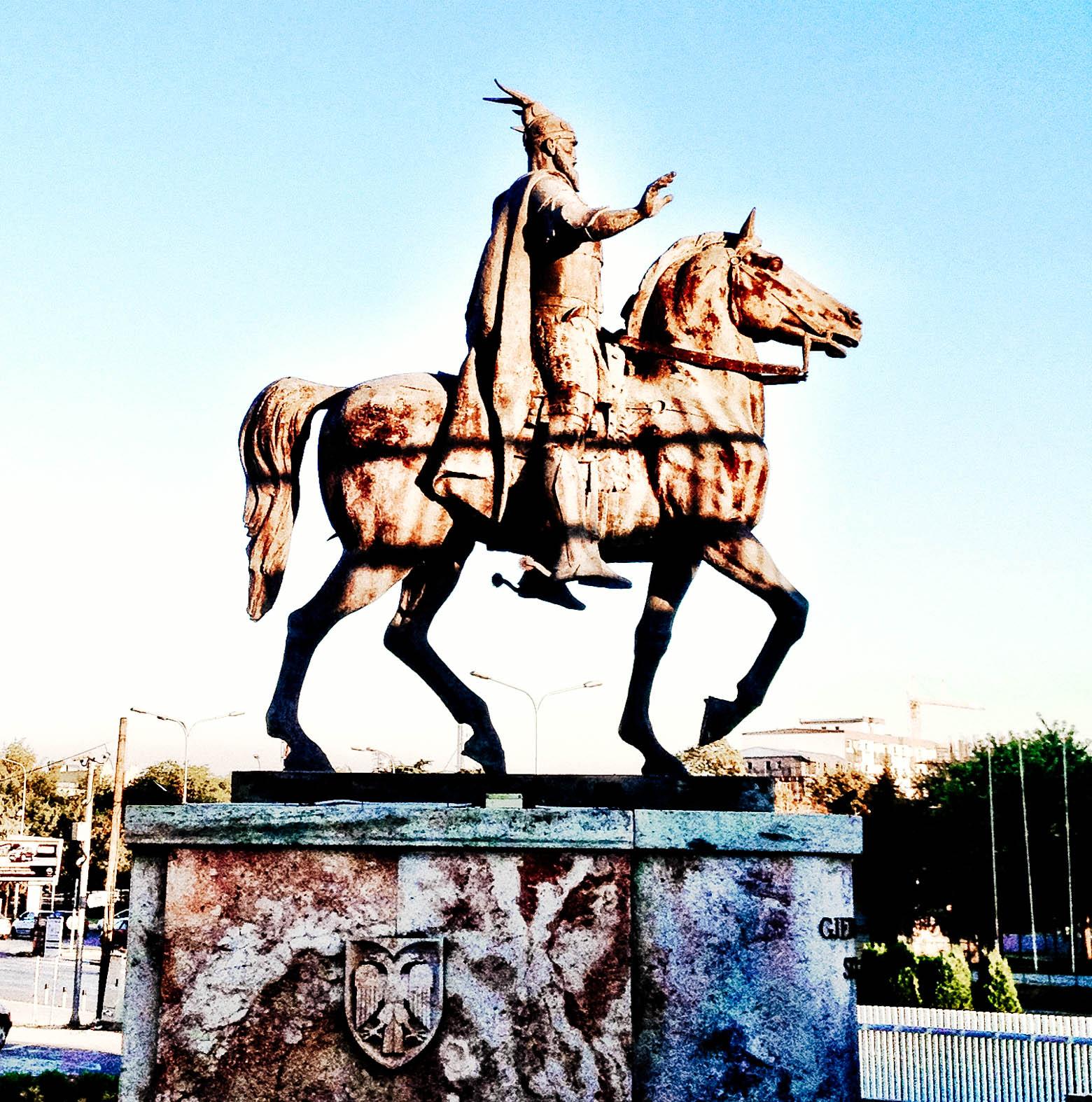 Albanian Hero Skanderbeg Statue in Skopje