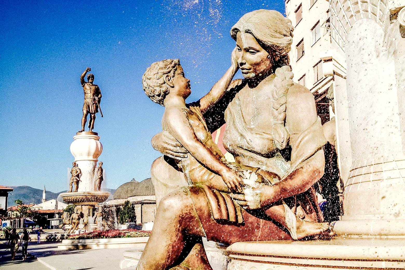Skopje Woman & Child Fountain