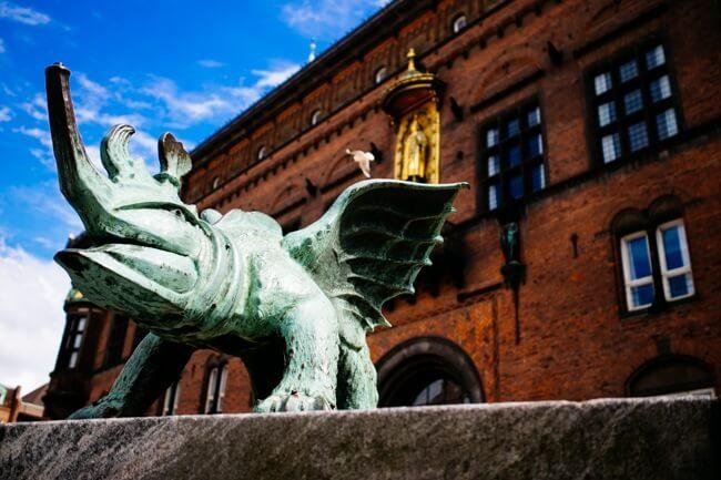 Statue guarding Copenhagen's town hall.